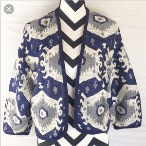 Zara Tribal Print Cardigan in Blue